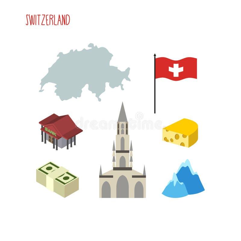 Insieme delle icone per la Svizzera Mappa e bandiera di paese Gatto di Berna illustrazione di stock