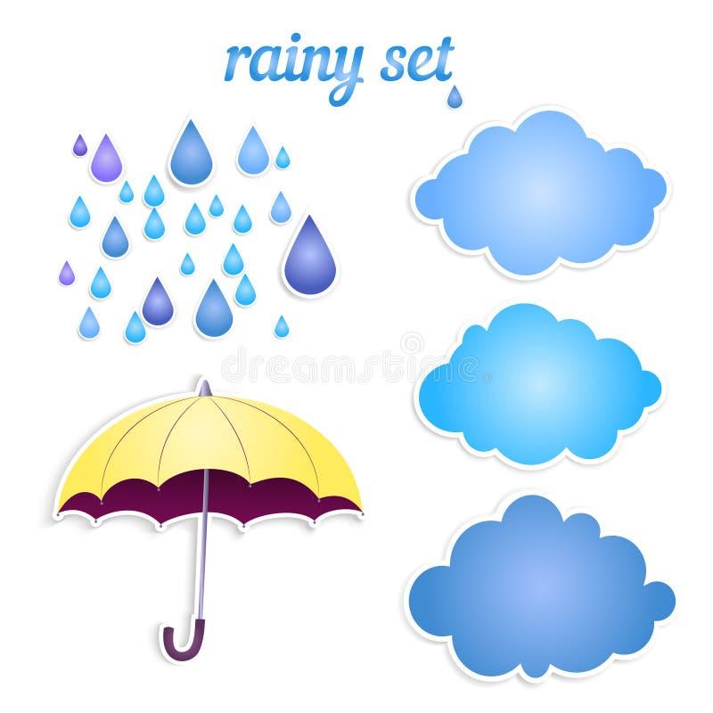 Insieme delle icone per la vostra pioggia. illustrazione di stock