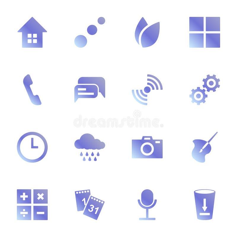 Insieme delle icone per le applicazioni standard Stile originale in blu Vettore su fondo bianco illustrazione di stock