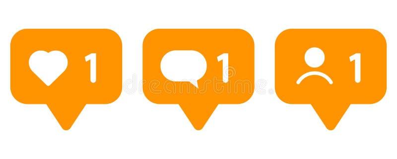 Insieme delle icone per le reti sociali Come, messaggio ed utente royalty illustrazione gratis