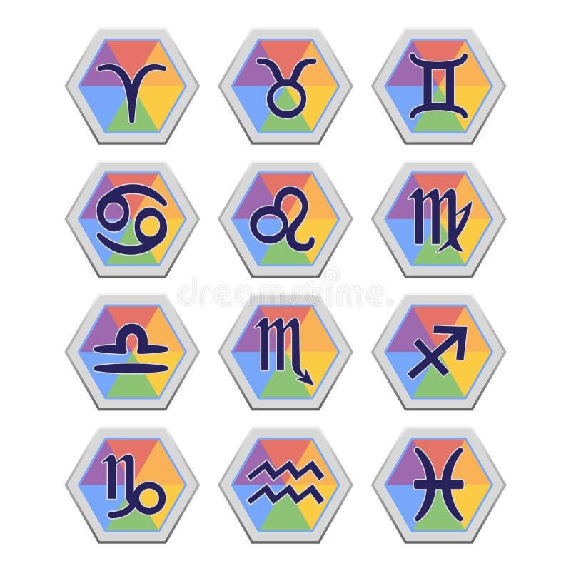 Insieme delle icone piane con i segni di zodiaco royalty illustrazione gratis