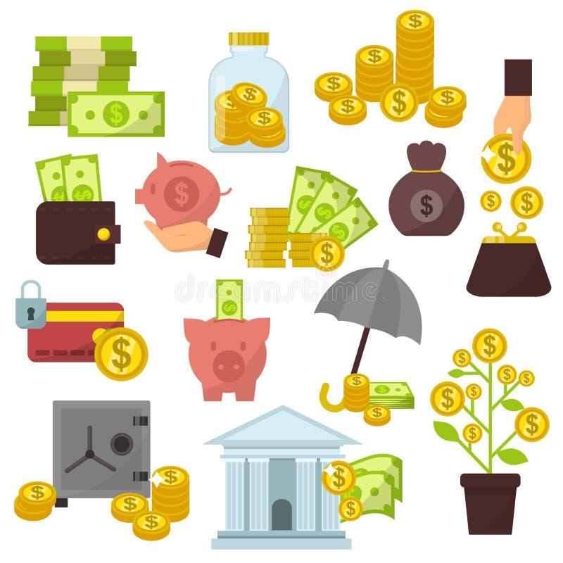 Insieme delle icone piane dei soldi di concetto di progetto per finanza che conta vettore online di commercio della nota di conta illustrazione vettoriale
