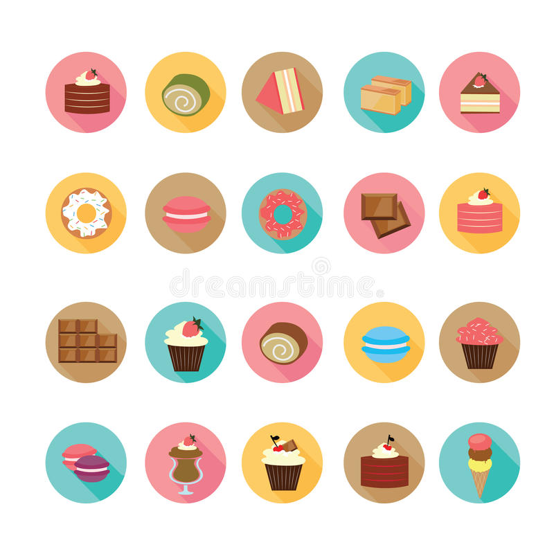 Insieme delle icone piane del dessert di progettazione illustrazione di stock