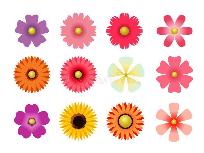 Insieme delle icone piane del fiore dell'icona in siluetta isolata su bianco per gli autoadesivi, etichette, etichette, carta da  illustrazione vettoriale