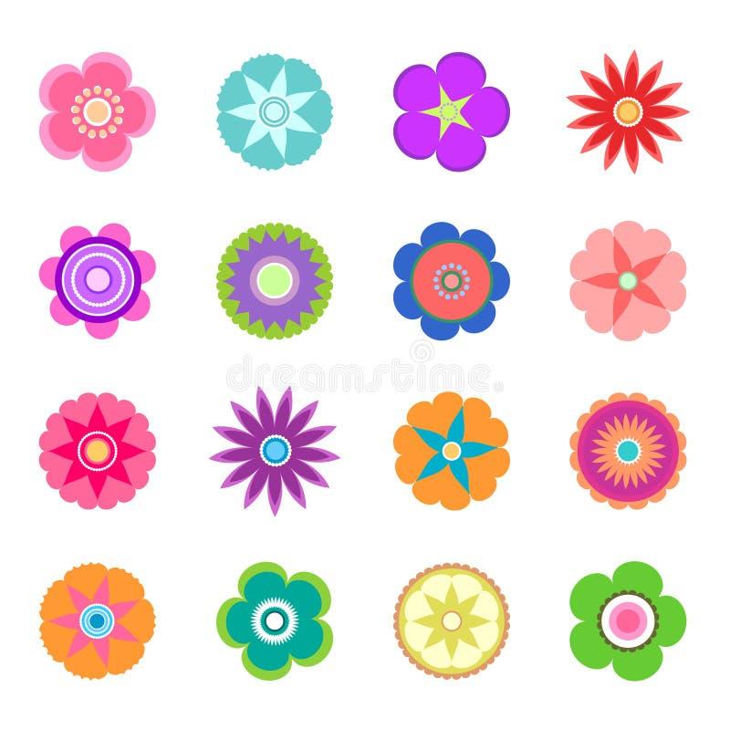 Insieme delle icone piane del fiore della primavera in siluetta isolata su bianco immagini stock