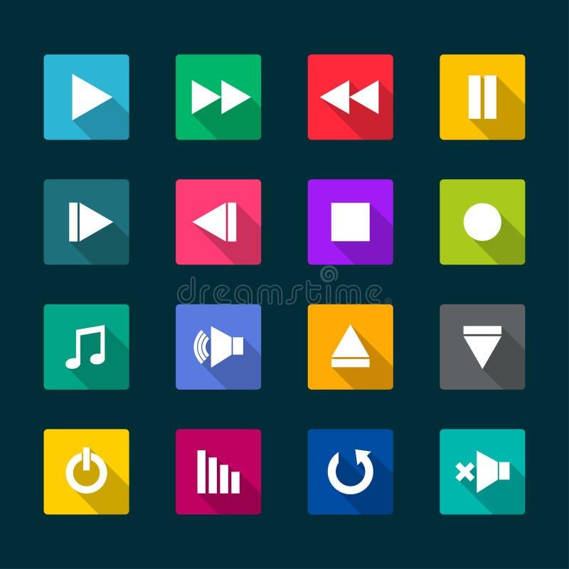 Insieme delle icone piane del lettore multimediale royalty illustrazione gratis