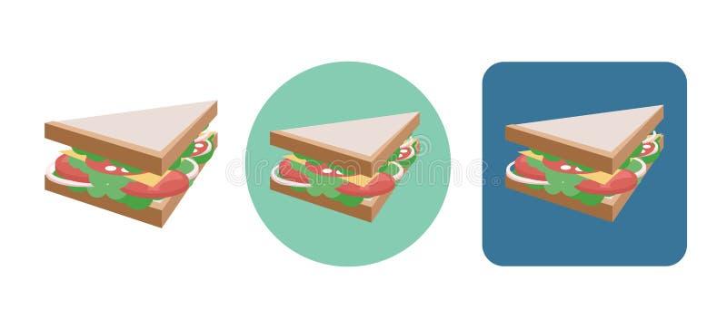 Insieme delle icone piane del panino nello stile isometrico illustrazione vettoriale