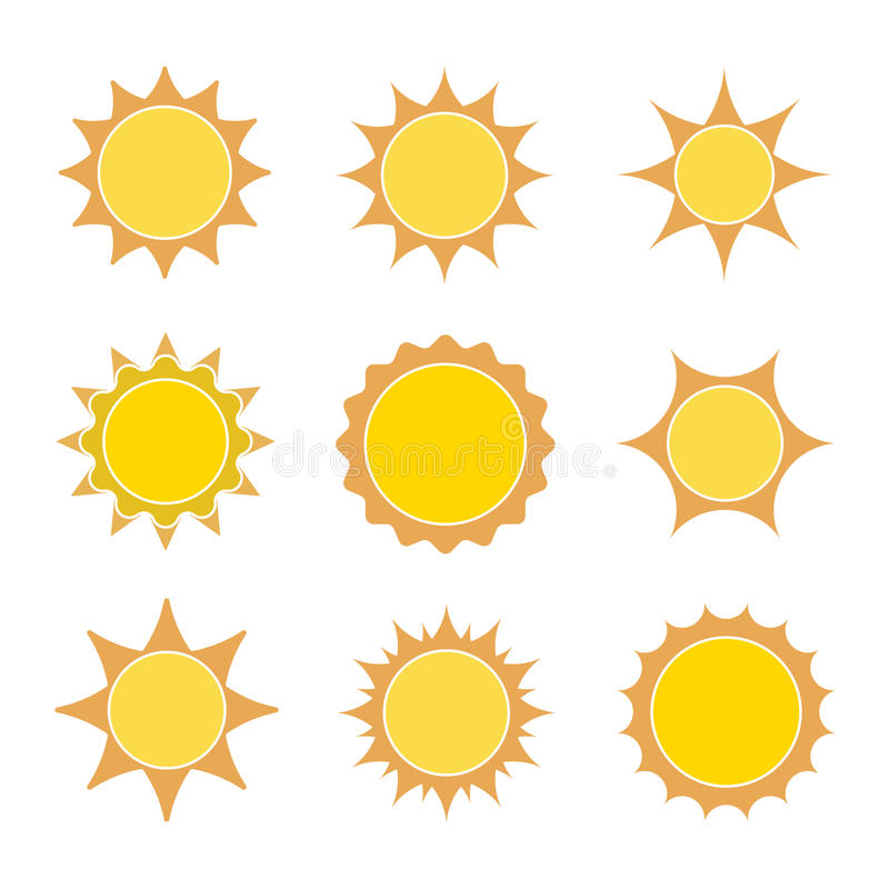Insieme delle icone piane del sole Illustrazione di vettore illustrazione di stock