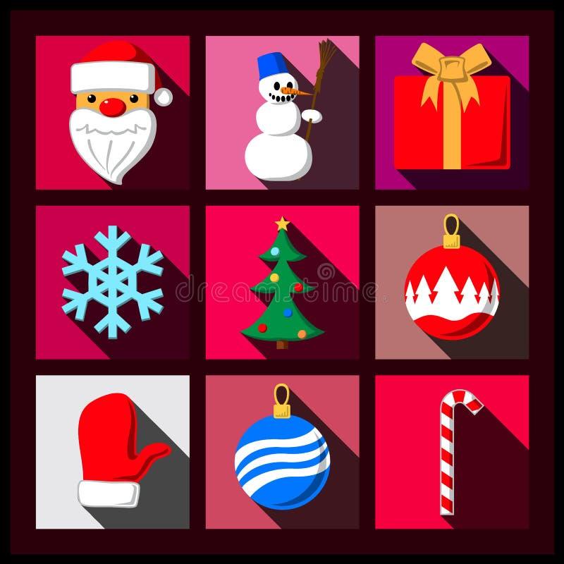 Insieme delle icone piane dell'ombra lunga di Natale royalty illustrazione gratis