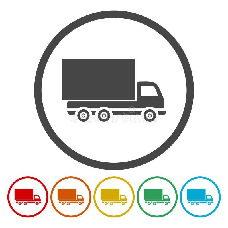 Insieme delle icone piane descritte rotonde di colore del camion di consegna su fondo bianco illustrazione vettoriale