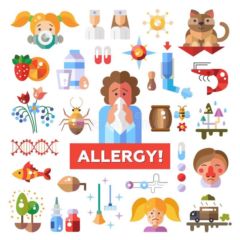 Insieme delle icone piane di allergia e dell'allergene di progettazione royalty illustrazione gratis