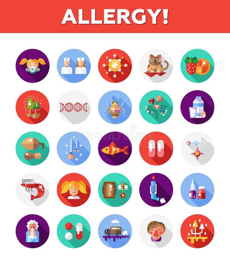 Insieme delle icone piane di allergia e dell'allergene di progettazione illustrazione vettoriale