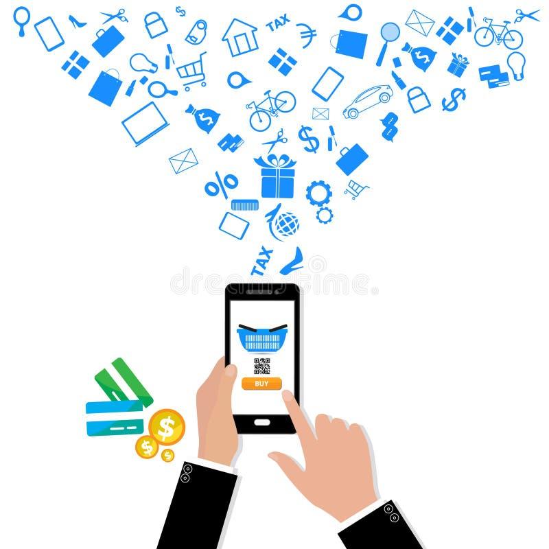 Insieme delle icone piane di concetto di progetto per i servizi di telefono cellulare e di web royalty illustrazione gratis