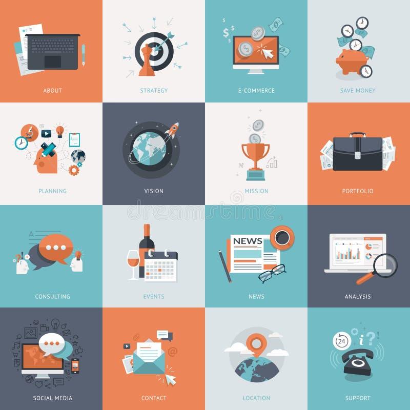 Insieme delle icone piane di concetto di progetto per l'affare illustrazione di stock
