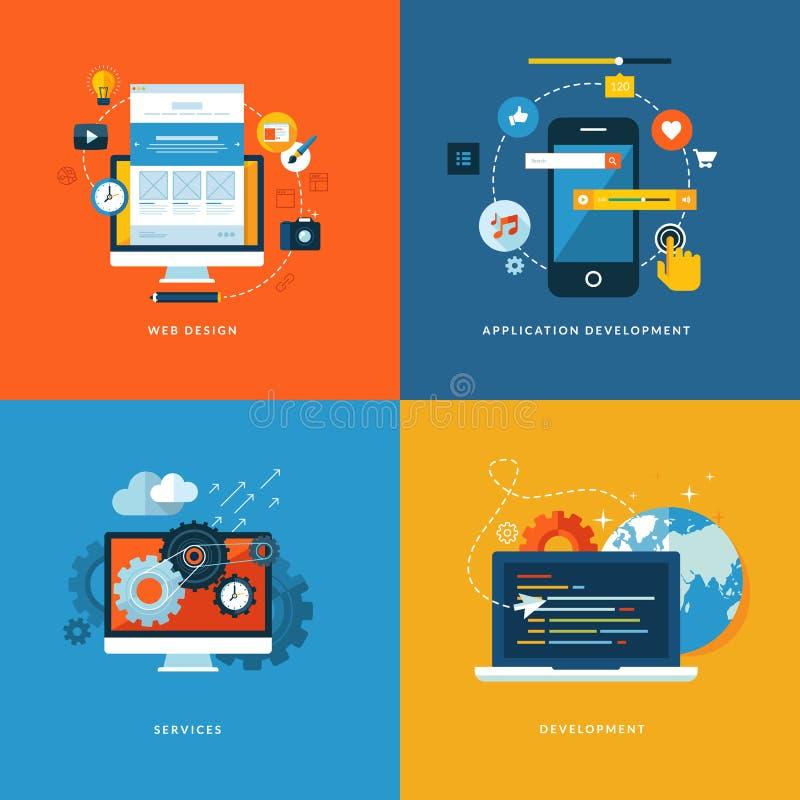 Insieme delle icone piane di concetto di progetto per web design illustrazione vettoriale