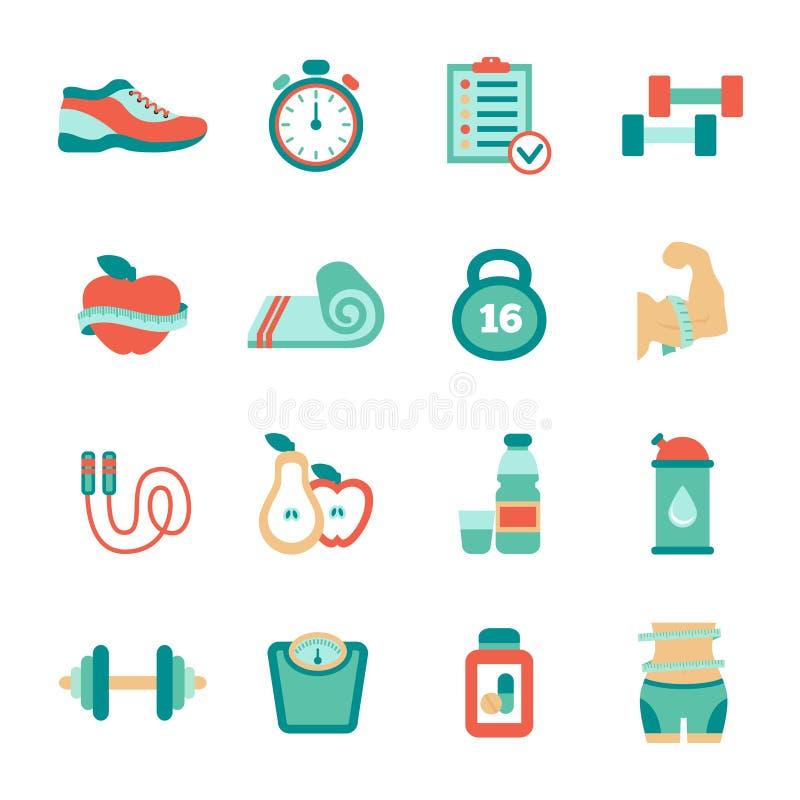 Insieme delle icone piane di forma fisica Illustrazione di vettore illustrazione di stock