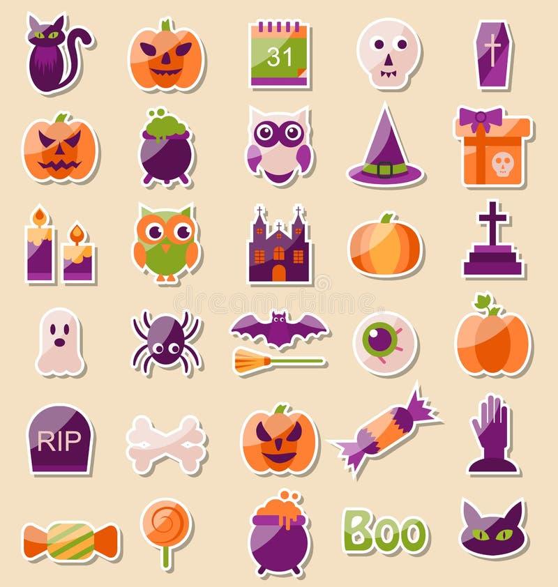 Insieme delle icone piane di Halloween, elementi dell'album per ritagli royalty illustrazione gratis