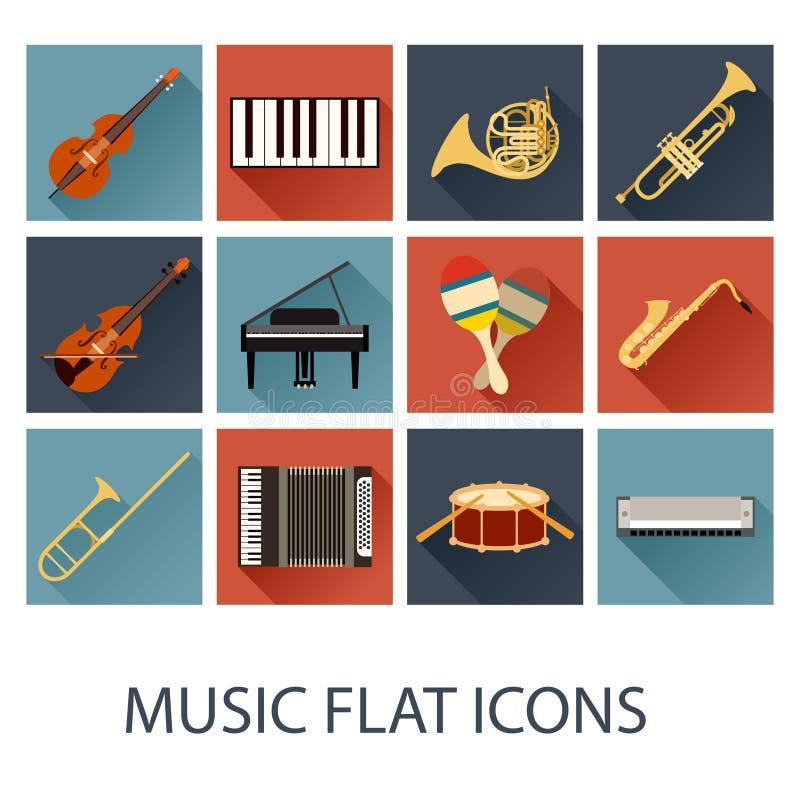 Insieme delle icone piane di musica illustrazione di stock