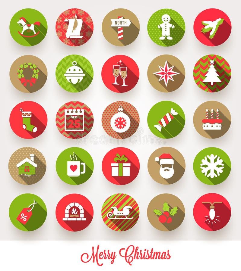 Insieme delle icone piane di Natale royalty illustrazione gratis