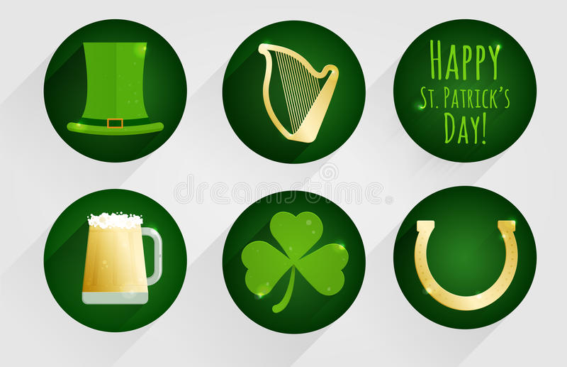 Insieme delle icone piane di progettazione per il giorno del ` s di St Patrick, isolate su fondo rotondo verde scuro illustrazione vettoriale