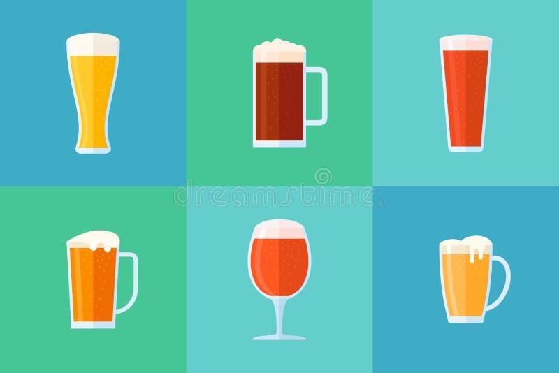 Insieme delle icone piane di stile di vetro di birra Tipi differenti della birra Illustrazione di vettore illustrazione vettoriale
