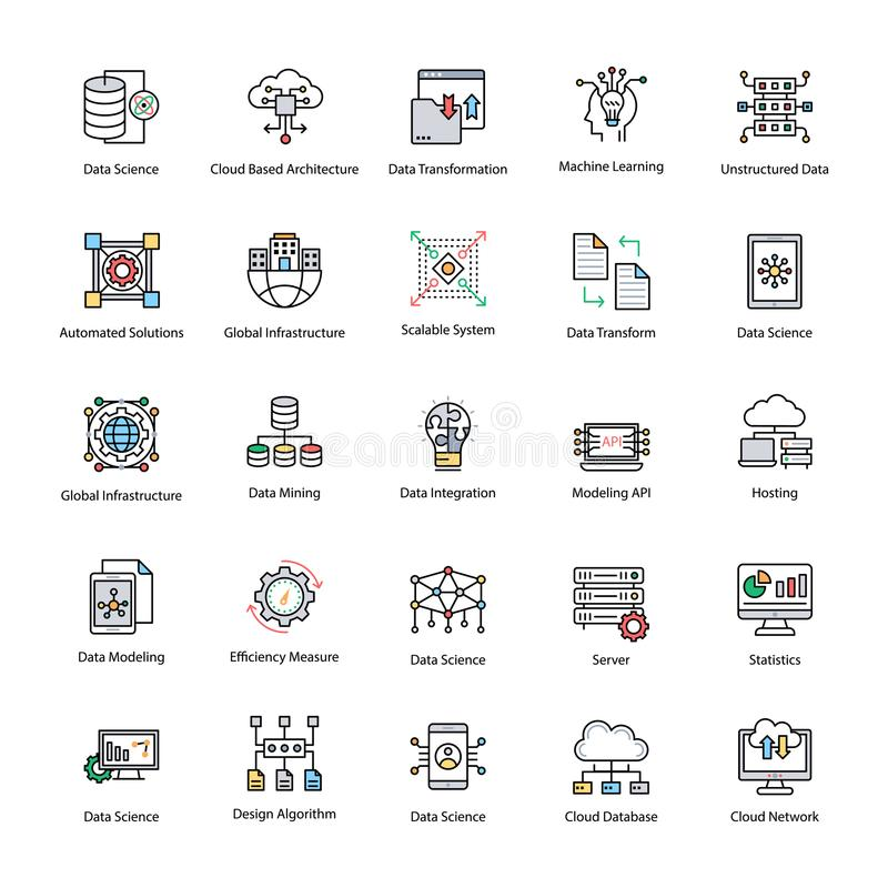 Insieme delle icone piane di vettore di scienza di dati illustrazione di stock