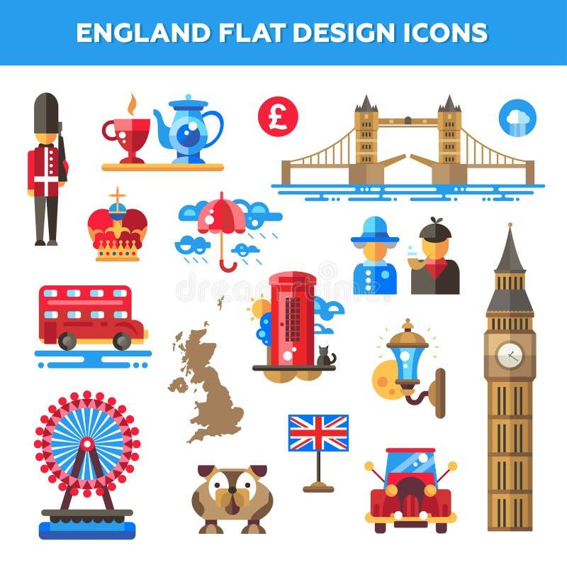 Insieme delle icone piane di viaggio dell'Inghilterra di progettazione illustrazione di stock