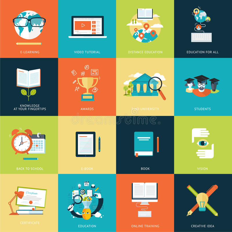 Insieme delle icone piane moderne di concetto di progetto per istruzione online royalty illustrazione gratis