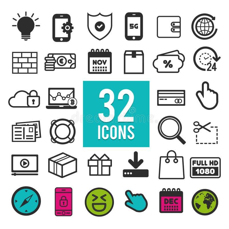 Insieme delle icone piane per il web, apps e progettazione di interfaccia mobili: estate di forma fisica di mezzi di comunicazion royalty illustrazione gratis