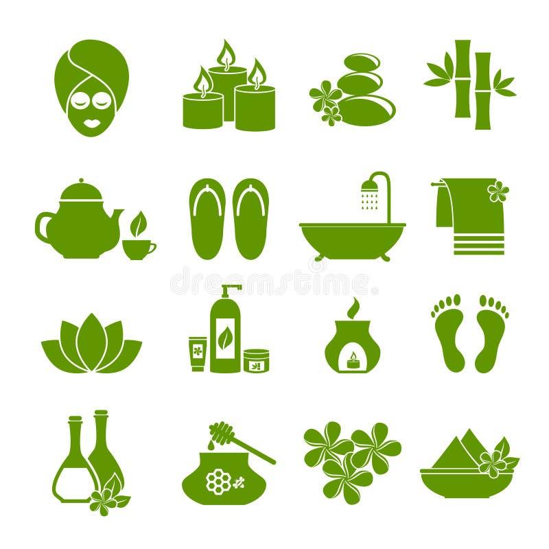 Insieme delle icone piane per la stazione termale illustrazione di stock