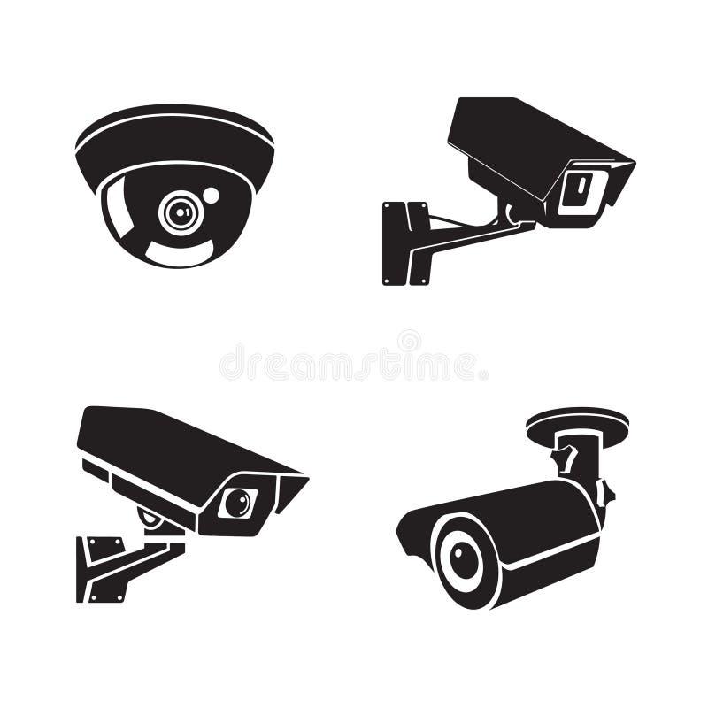 Insieme delle icone piane delle videocamere di sicurezza royalty illustrazione gratis