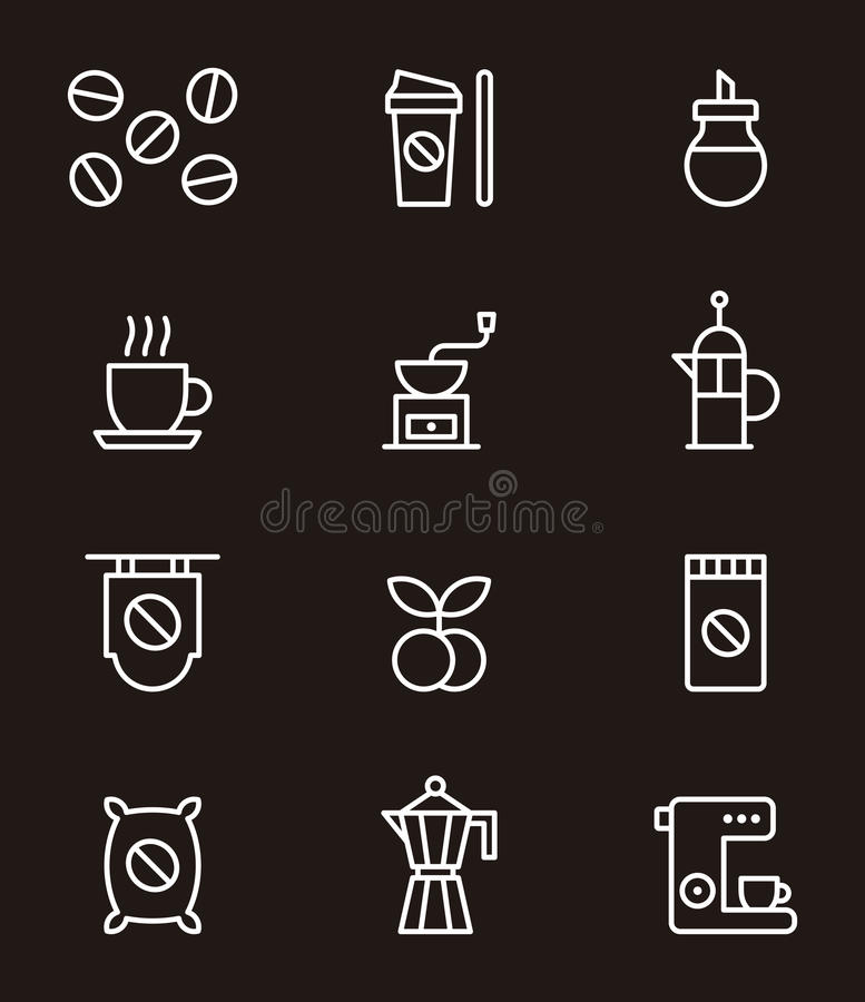 Insieme delle icone relative del caffè royalty illustrazione gratis