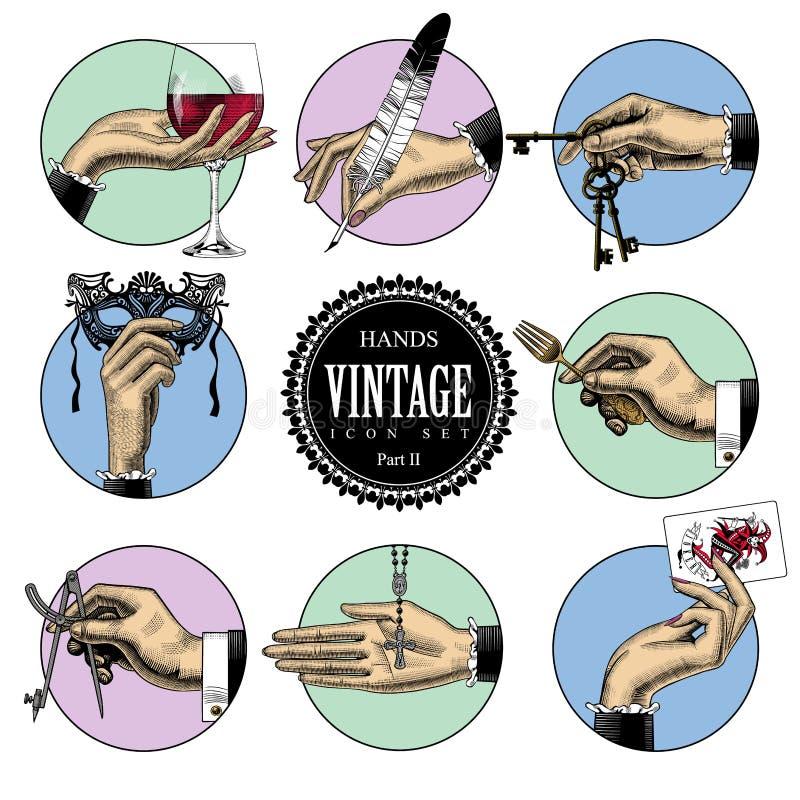 Insieme delle icone rotonde nello stile d'annata dell'incisione con le mani ed il CRNA royalty illustrazione gratis