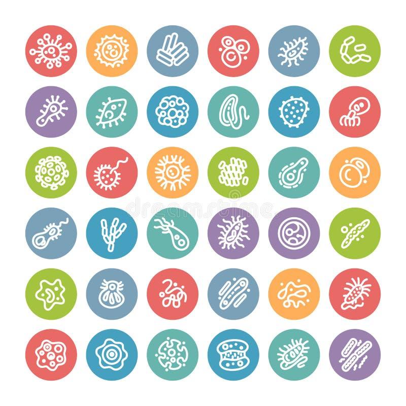 Insieme delle icone rotonde piane con i batteri ed i germi illustrazione di stock