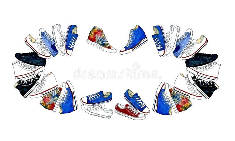 Insieme delle icone delle scarpe o delle scarpe da tennis di sport nelle viste differenti illustrazione vettoriale