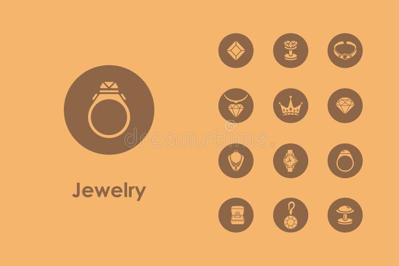 Insieme delle icone semplici dei gioielli illustrazione vettoriale