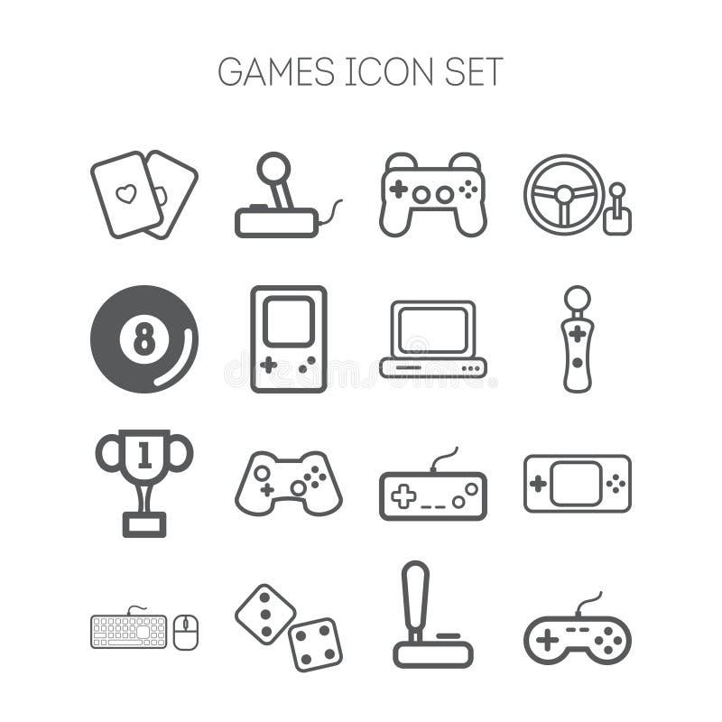 Insieme delle icone semplici per i video giochi, i regolatori, il web e le applicazioni illustrazione vettoriale
