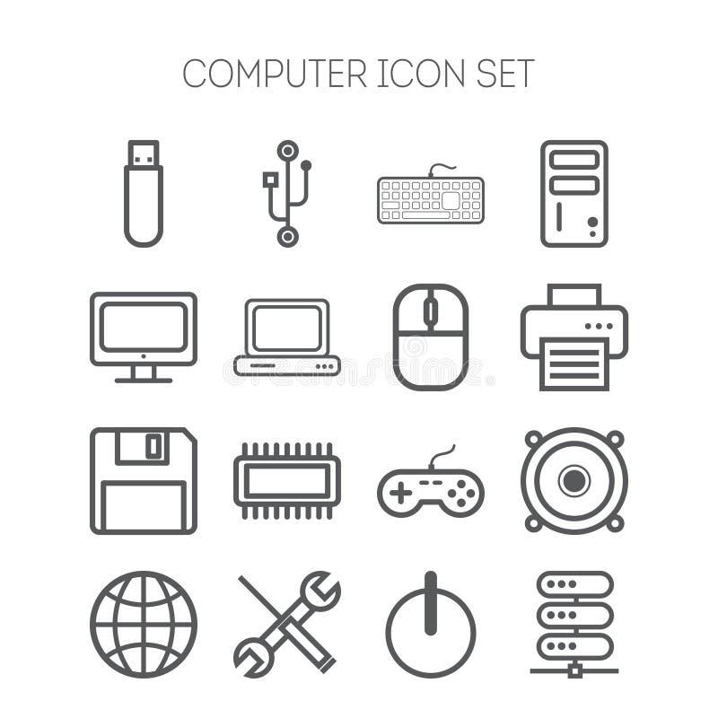 Insieme delle icone semplici per il computer, il web, la compressa, l'applicazione, Internet e la rete royalty illustrazione gratis