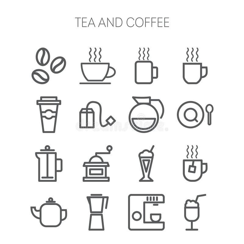 Insieme delle icone semplici per il ristorante, caffè, caffè illustrazione di stock