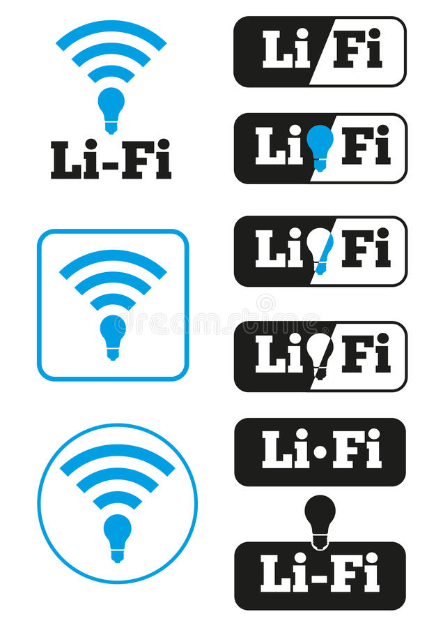 Insieme delle icone senza fili di accesso Li-Fi illustrazione di stock