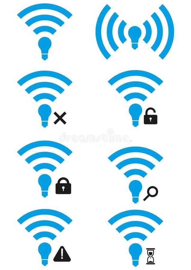 Insieme delle icone senza fili di accesso Li-Fi royalty illustrazione gratis