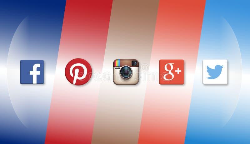 Insieme delle icone sociali di media illustrazione vettoriale
