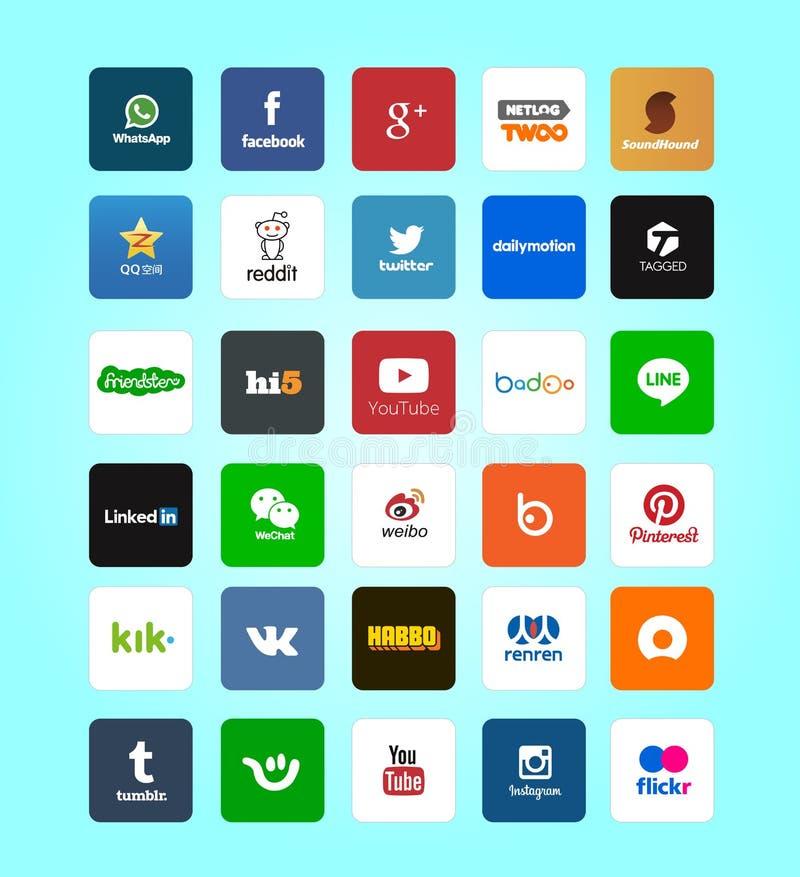 Insieme delle icone sociali di media di progettazione piana moderna illustrazione vettoriale