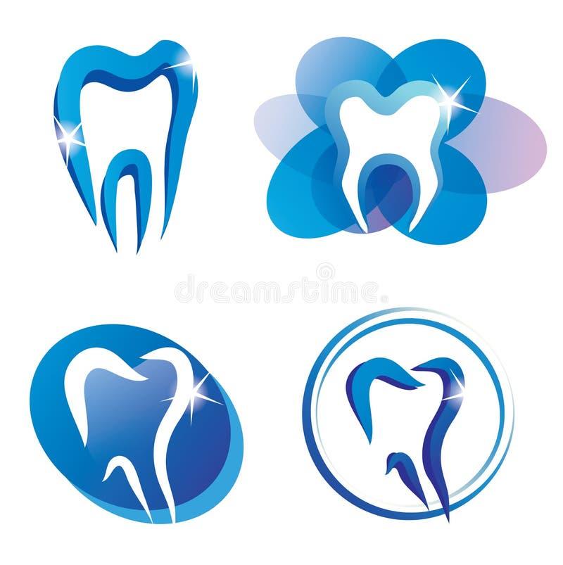 Insieme delle icone stilizzate di vettore del dente illustrazione di stock