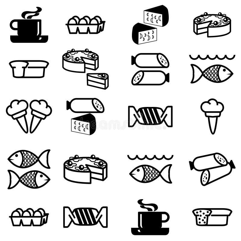 Insieme Delle Icone Sul Tema Dell Alimento Fotografia Stock