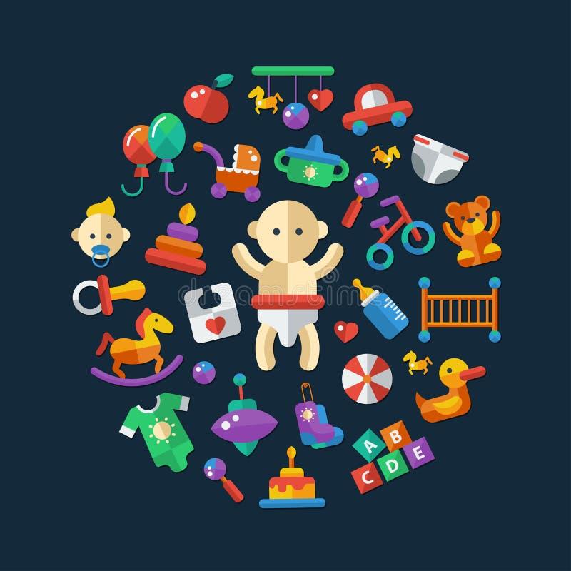 Insieme delle icone sveglie del bambino di progettazione piana royalty illustrazione gratis