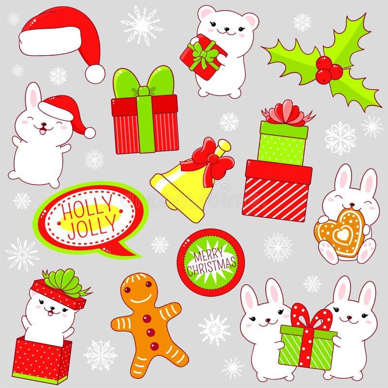 Insieme delle icone sveglie della festa di Natale nello stile di kawaii illustrazione di stock