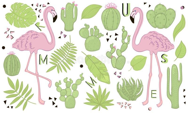Insieme delle icone sveglie di estate: foglie, cactus e fenicottero tropicali verdi Manifesto luminoso di estate Raccolta dell'el illustrazione di stock