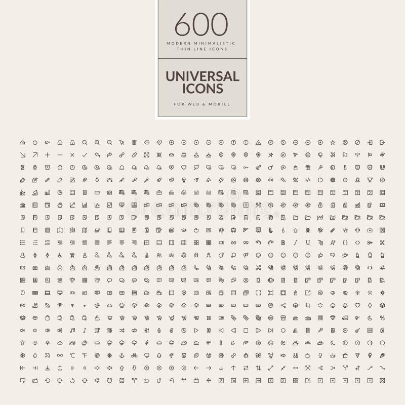 Insieme delle icone universali per il web ed il cellulare royalty illustrazione gratis