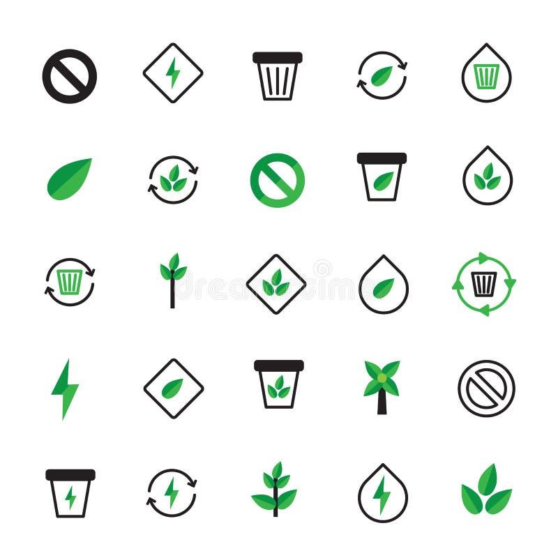 Insieme delle icone verdi nere di ecologia Illustrazione ecologica royalty illustrazione gratis